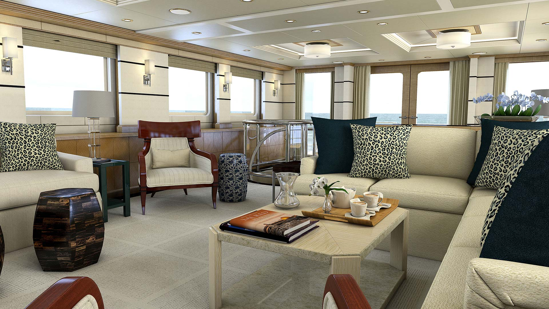 Photo of beautiful interior design of a living area in a mega yacht.