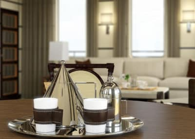 Unique designer tea and coffee set accessorizing a salon on a private superyacht designed by Patrick Knowles Designs