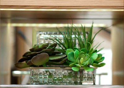 glass planter filled with faux succulents accessorizing shelving that houses leather bound novels