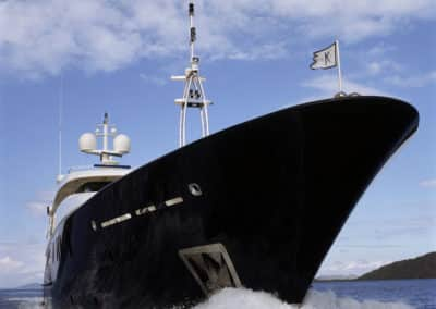 """Photograph of the hull superyacht """"Inevitable"""", designed by Patrick Knowles Designs"""