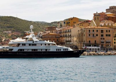 Photograph of exterior of superyacht designed by Patrick Knowles Designs