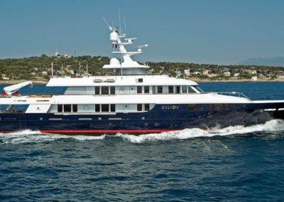 "Photograph of superyacht ""Helios"" starboard in motion designed by Fort Lauderdale yacht designer Patrick Knowles"