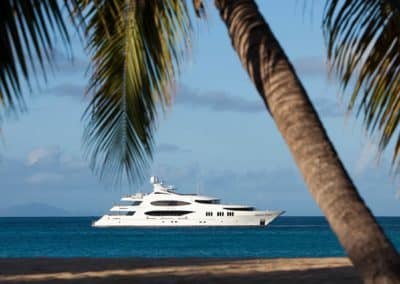 Photograph from land of yacht designed by Fort Lauderdale based firm Patrick Knowles Designs