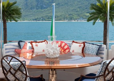 Beatiful dining area on deck of superyacht designed by Fort Lauderdale yacht designer Patrick Knowles