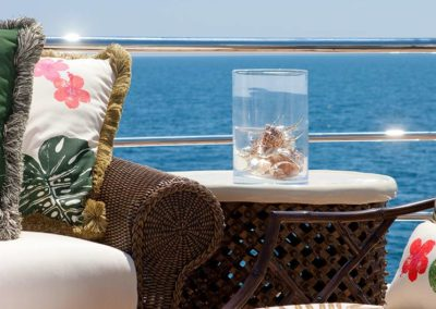 Details by seating area on deck designed by Fort Lauderdale yacht designer Patrick Knowles
