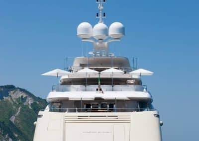 Photograph of rear of superyacht designed by Fort Lauderdale yacht designer Patrick Knowles
