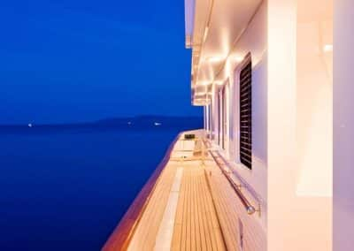 Exterior photograph on starboard side of the railing designed by Patrick Knowles Designs