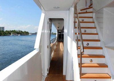 Photo of staircase from deck to deck of superyacht designed by Fort Lauderdale yacht designer Patrick Knowles