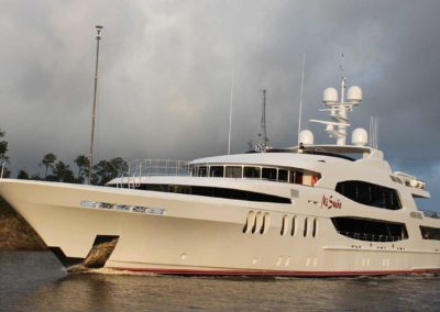 "Full view of port side of superyacht ""Mi Sueño"" designed by Fort Lauderdale yacht designer Patrick Knowles"