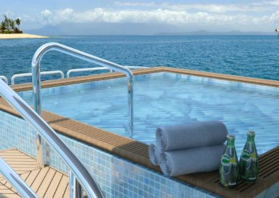 Jacuzzi on deck of a Superyacht designed by Fort Lauderdale yacht designer Patrick Knowles