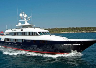 Starboard side photograph of Superyacht Helios, designed by South Florida yacht designer Patrick Knowles