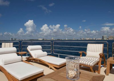 Chaise lounge on top deck designed by South Florida Yacht Designer Patrick Knowles