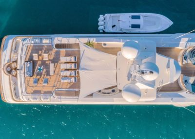 Aerial top view of top deck with seating area and Jacuzzi designed by Fort Lauderdale yacht designer Patrick Knowles