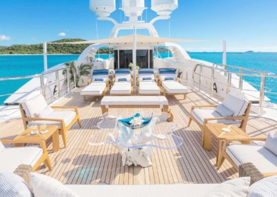 Top deck with beautiful seating and Chaise lounge chairs designed by Fort Lauderdale yacht designer Patrick Knowles