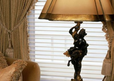 Intricate metal table lamp in a Patrick Knowles designed yacht
