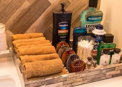 Organized set up of toiletries in a Patrick Knowles Designs residential interior design home