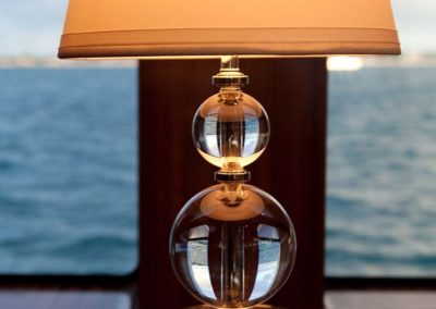 Glass lamp base with a white lampshade and an ocean background