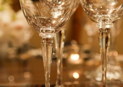 Close-up of crystal glassware on a Patrick Knowles Designed yacht in Miami, Fort Lauderdale, Palm Beach and docked in South Florida