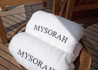 Custom personalized towels for private superyacht designed by South Florida's Patrick Knowles Designs